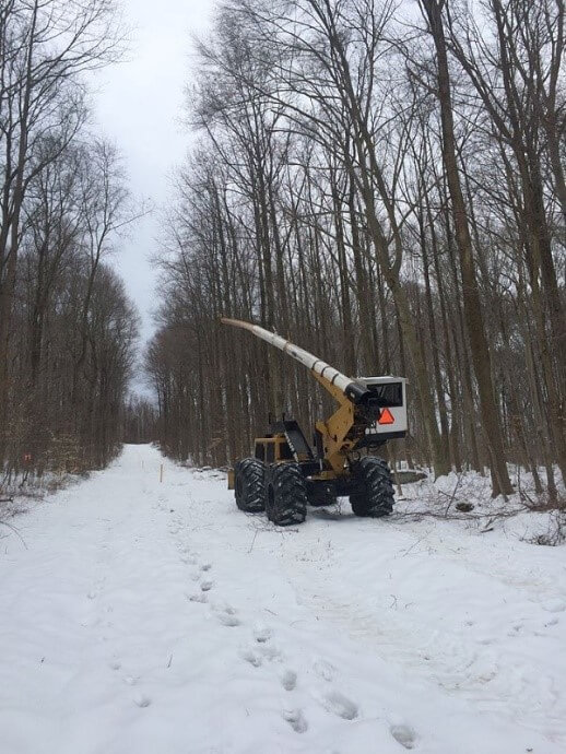 Right of way clearing project in snow | pipeline right of way clearing | Stein Tree Service