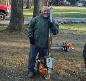 large red oak tree removal large chainsaw - Stein Tree Service
