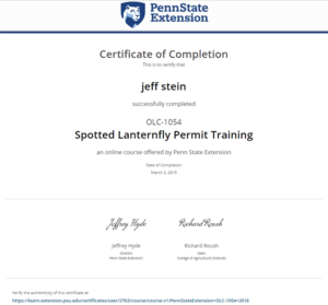 Spotted Lanternfly certificate - March 2 2019 - Stein Tree Service