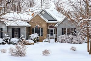 House and yard covered in snow with trees and shrubs.